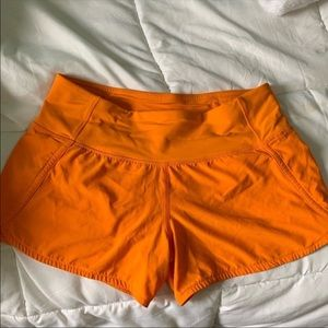 orange lululemon speed up shorts!!!
